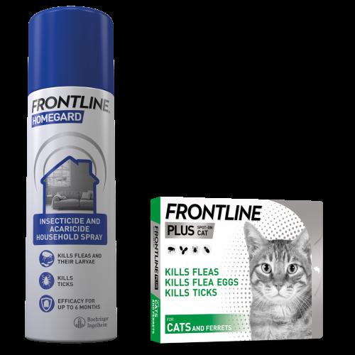 FRONTLINE Plus Flea & Tick Treatment Cat 6 Pack & Homegard 500ml Spray Bundle NFA-C