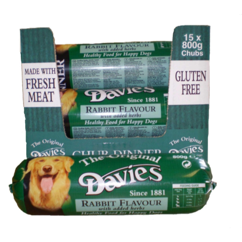 Davies Rabbit Chub for Dogs 800g x 15