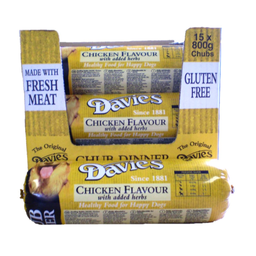 Davies Chicken Chub for Dogs 800g x 15