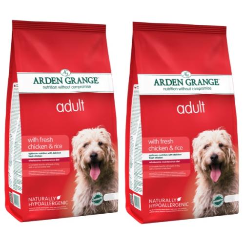 Arden Grange Chicken & Rice Adult Dog Food 12kg x 2