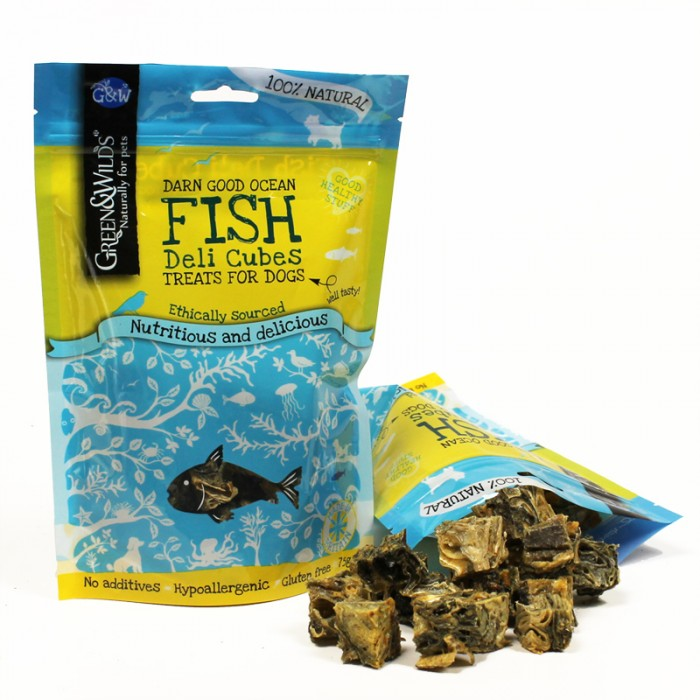 Green & Wilds Fish Deli Cubes Dog Treats 75g