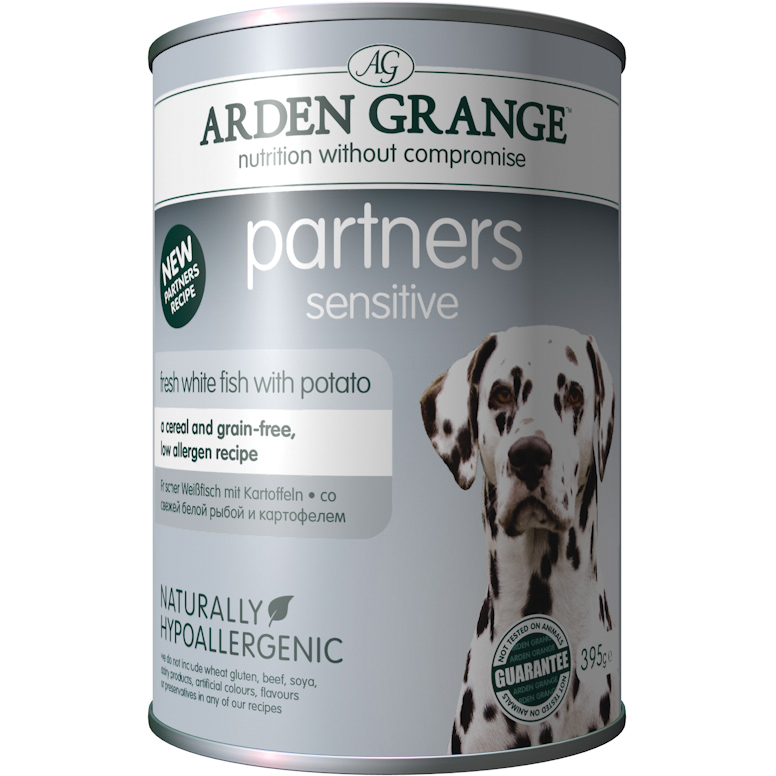 Arden Grange Partners Sensitive Fish & Potato Adult Dog Food 395g x 24