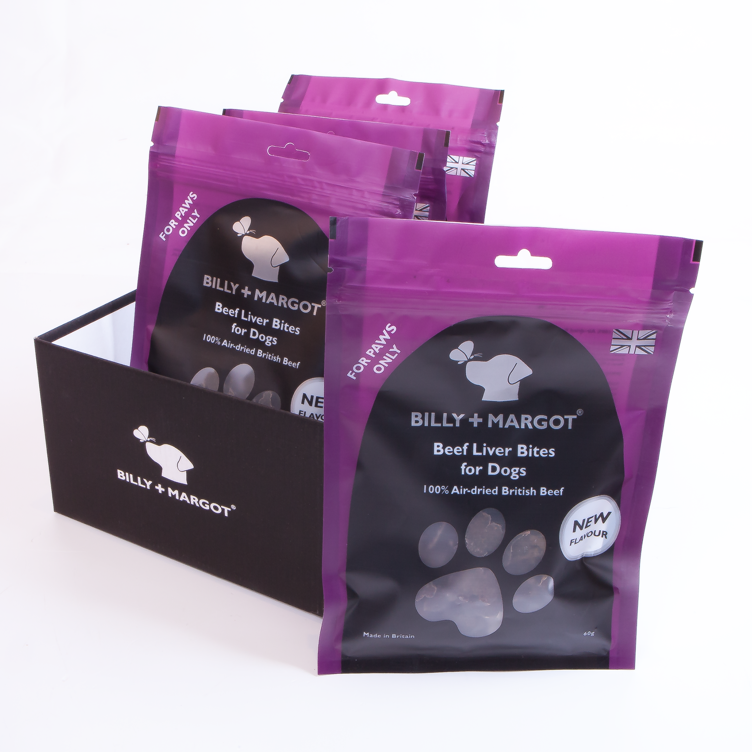 Billy & Margot Beef Liver Bites Dog Treats 60g x 4 Multipack
