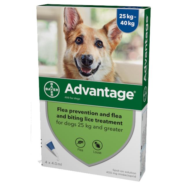 Advantage Flea Control 400 Extra Large Dogs over 25 - 40kg (4 pipettes) NFA-D