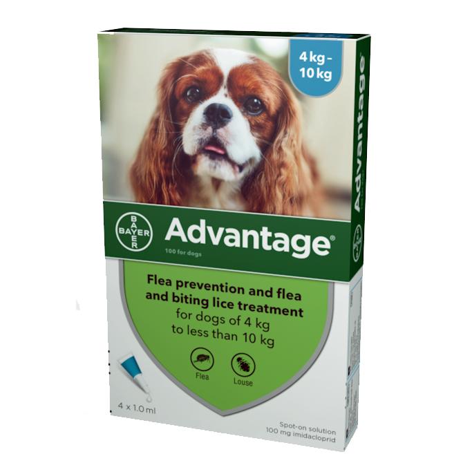 Advantage Flea Control 100 Medium Dogs 4-10kg (4 pipettes) NFA-D