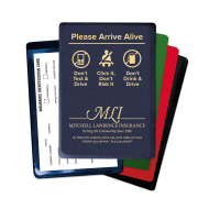 "Picture of ""Please Arrive Alive"" Insurance Card Holder"