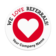 Picture of We Love Referrals Label with Heart