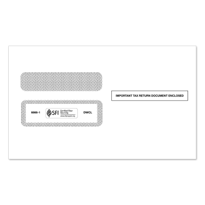 Picture of 2-Up W-2 Double Window Envelope (6666)
