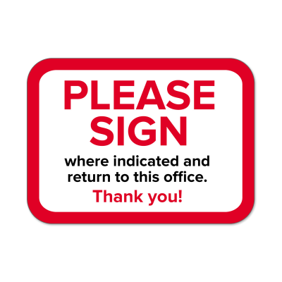 "Picture of ""Please Sign"" Labels"