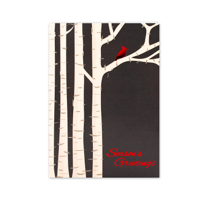 Picture of Cardinal in the Birch Greeting Card