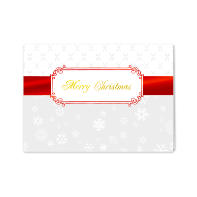 Picture of Red Christmas Ribbon Greeting Card