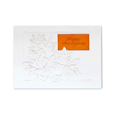 Picture of Embossed Fall Leaves Greeting Card