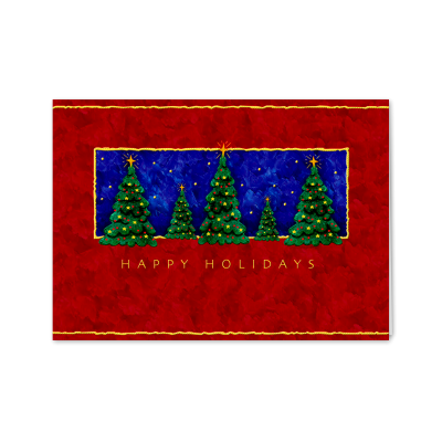Picture of Holiday Trees in a Starry Night Greeting Card