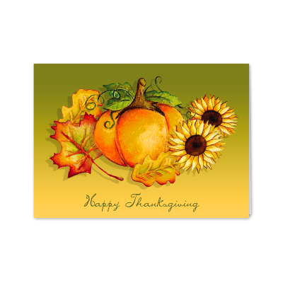 Picture of Pumpkins & Leaves Greeting Card