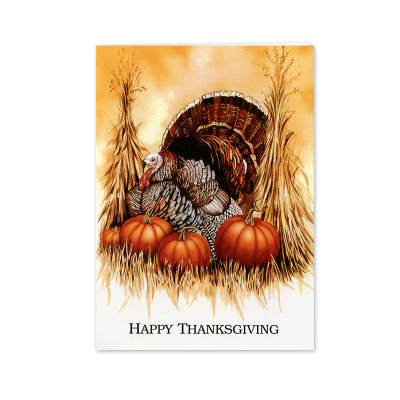 Picture of Turkey & Pumpkins Greeting Card