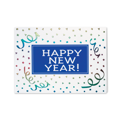 Picture of Happy New Year Ribbons Greeting Card