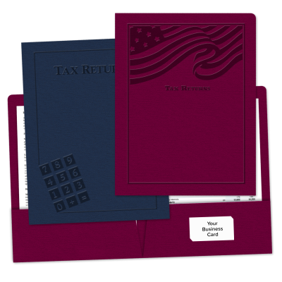 "Picture of Embossed ""Pre-Designed"" Tax Return Folders"