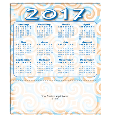 Picture of Large Calendar Magnet - Swirls