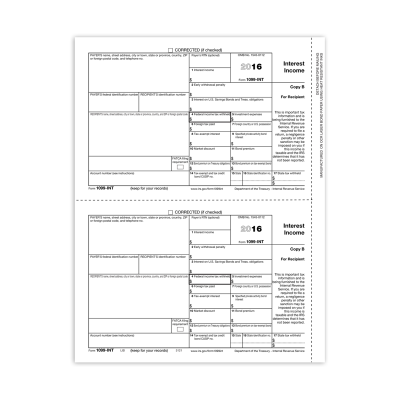 Picture of Form 1099-INT - Copy 2 Recipient State (5121)