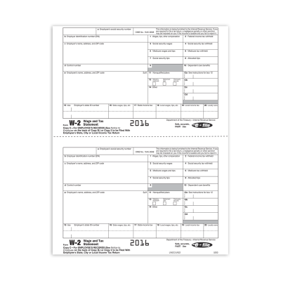 Picture of Form W-2 - Copy 2 - Employee State, City, or Local - 2up (5203)