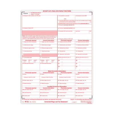 Picture of Form W-2C - Copy A - Employers Federal (5313)