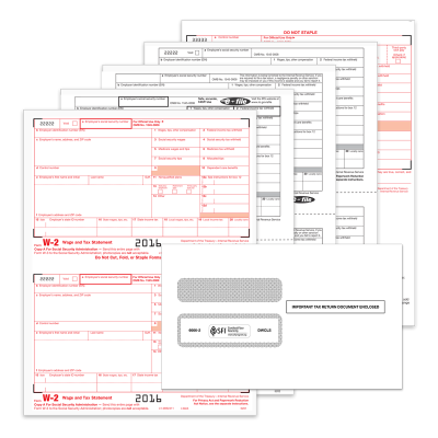 Picture of 2-Up Traditional W-2 Convenience Set with Envelopes - 4 Part (5645E)