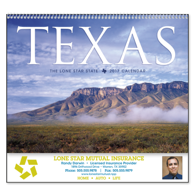 Picture of Texas State Wall Calendar - Spiral