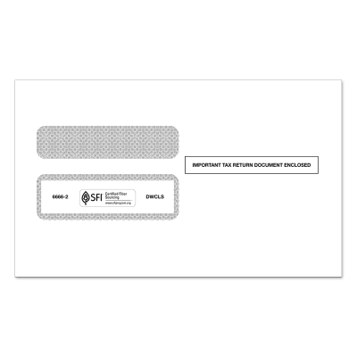 Picture of 2-Up W-2 Double Window Tax Envelope (6666)