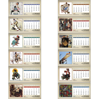 Picture of Saturday Evening Post Desk Calendar Featuring Illustrations by Norman Rockwell