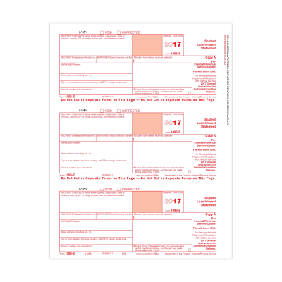 Picture of Form 1098-E - Copy A Federal (5185)