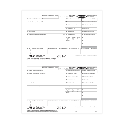 Picture of Form W-2 - Copy B - Employee Federal IRS - 2up (5202)