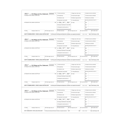 Picture of Form W-2 - Employer State, City or Local Copy - Condensed - 4up (5406)