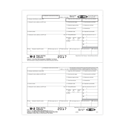 Picture of Form W-2 - Federal IRS and Record - Condensed - 2up (5212)