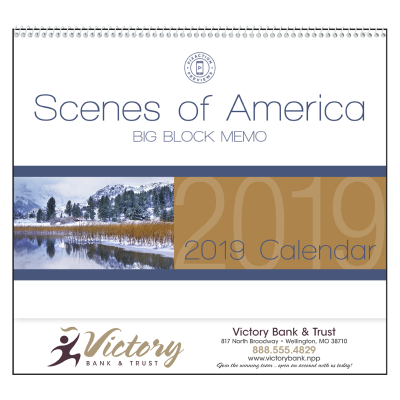 Picture of Scenes Of America Big Block Memo Wall Calendar