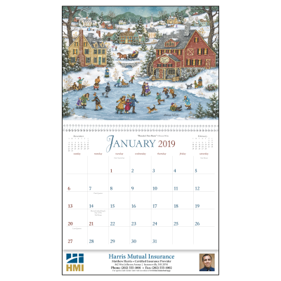 Picture of Folk Art Wall Calendar - Spiral