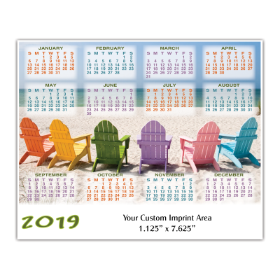 Picture of Large Calendar Magnet - Beach Chairs