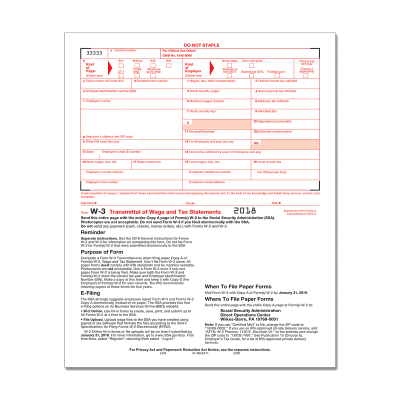 Picture of Form W-3 Transmittal Employers Federal (5200)