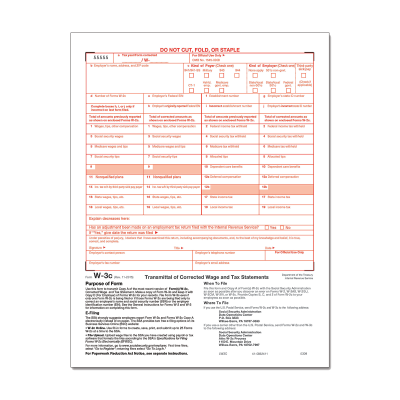 Picture of Form W-3C Correction Summary Employer Federal (5309)