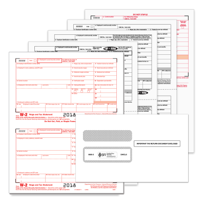 Picture of 2-Up Traditional W-2 Convenience Set with Envelopes - 8 Part (5655E)