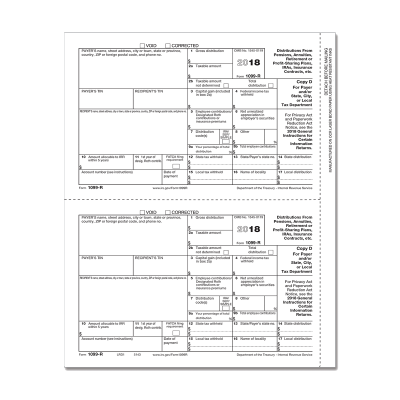 Picture of Form 1099-R - Copy D/1 Payer/State (5143)