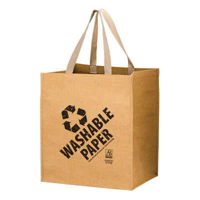 Picture of Washable Kraft Paper Grocery Bag - 12 x 13 x 8