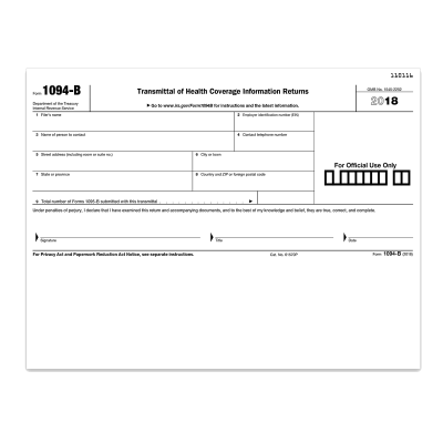 Picture of Form 1094-B Transmittal of Health Coverage (1094BT)