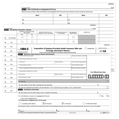 Picture of Form 1094-C Transmittal of Employer Health (1094CT)