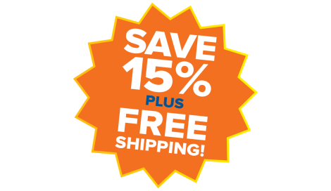 15% OFF plus FREE SHIPPING!