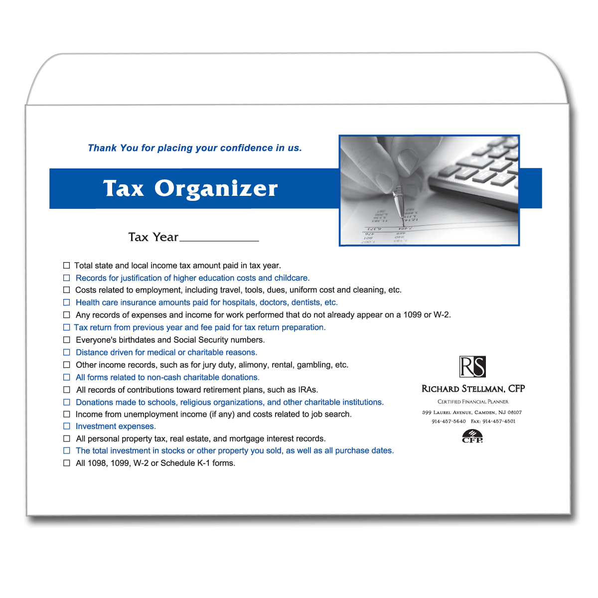 Income tax client tax return envelope mines press picture of tax organizer envelope sciox Image collections
