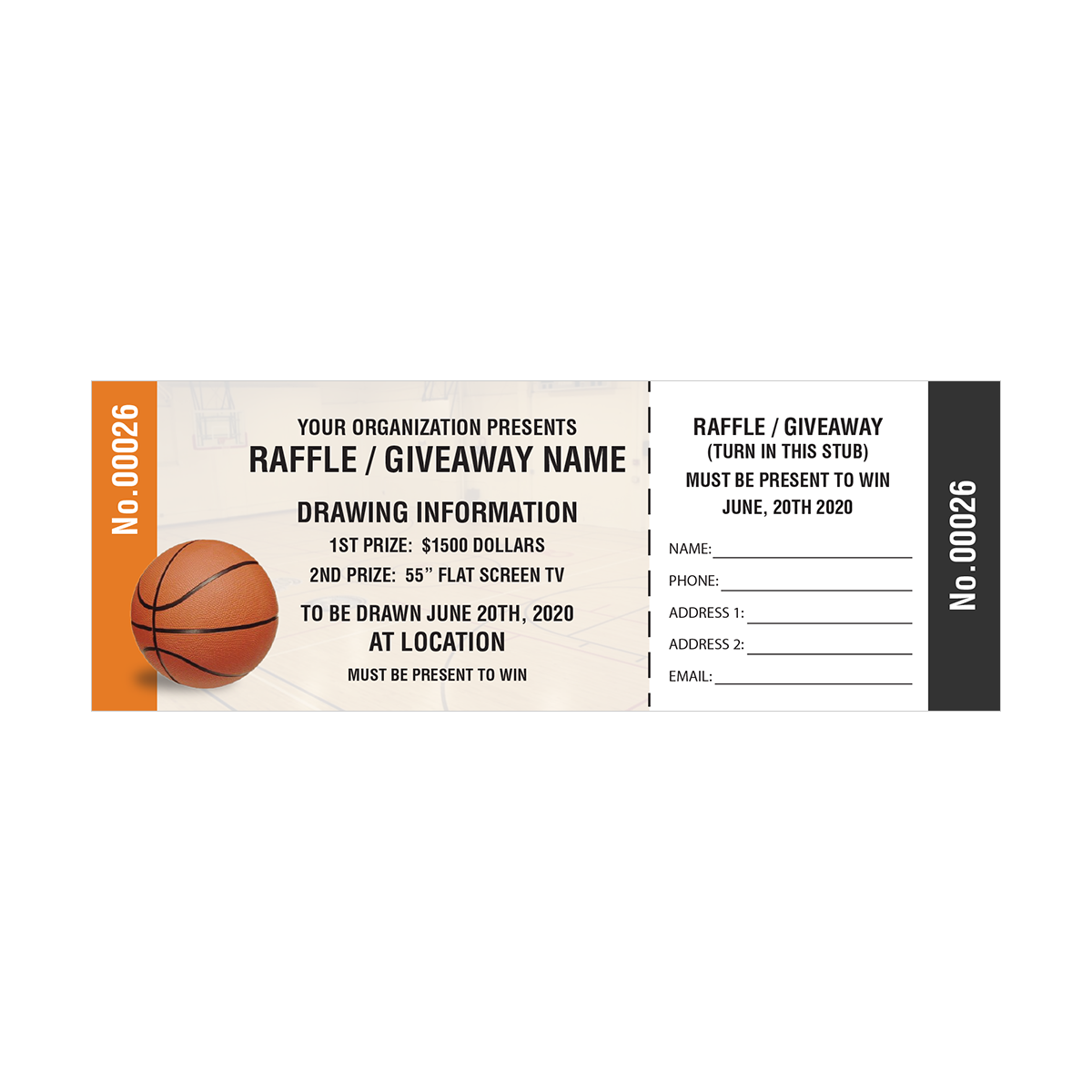 Basketball Fundraiser Tickets – Sample Tickets for Fundraisers