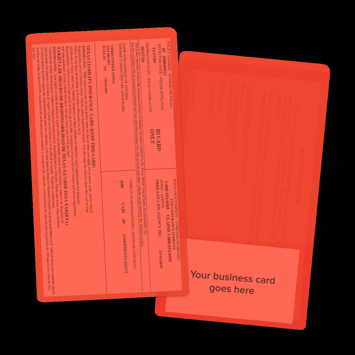 picture of orange insurance card holders - Insurance Card Holder