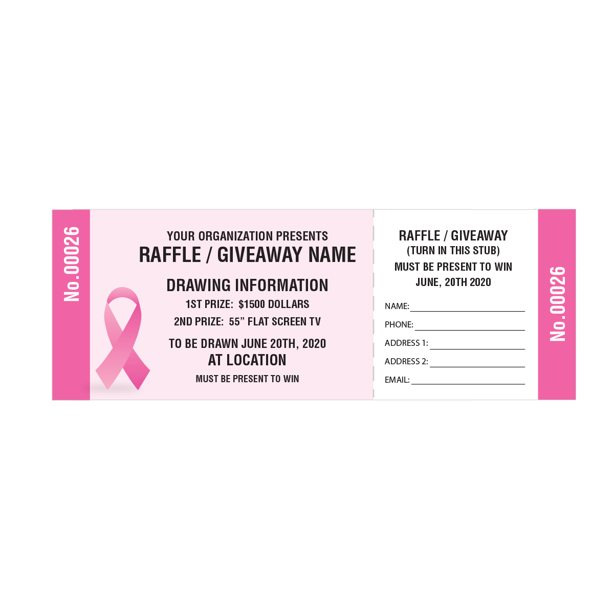 breast cancer pink ribbon raffle tickets mines press picture of breast cancer awareness raffle tickets