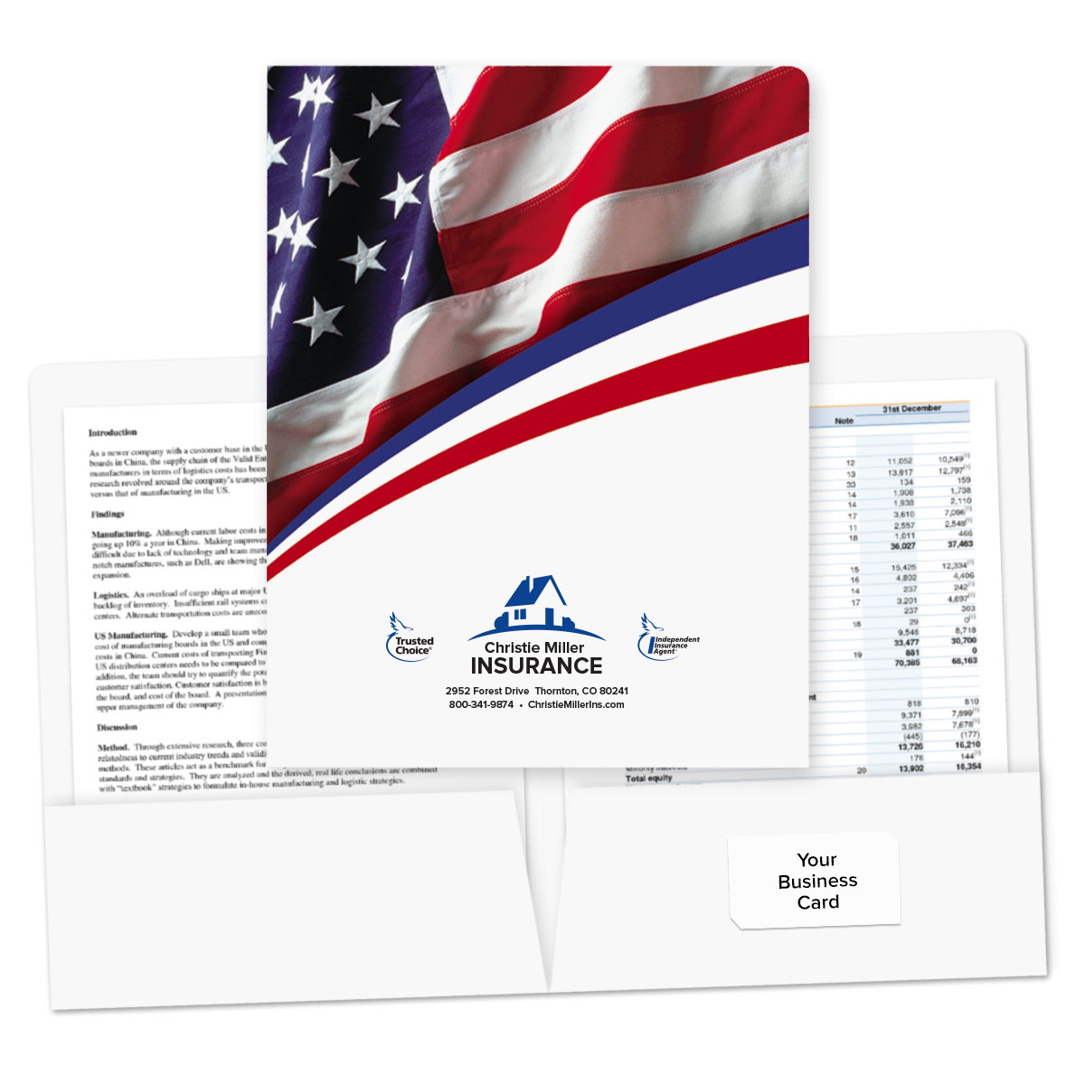 Pre-Designed Patriotic Flag Pocket Folder | Mines Press