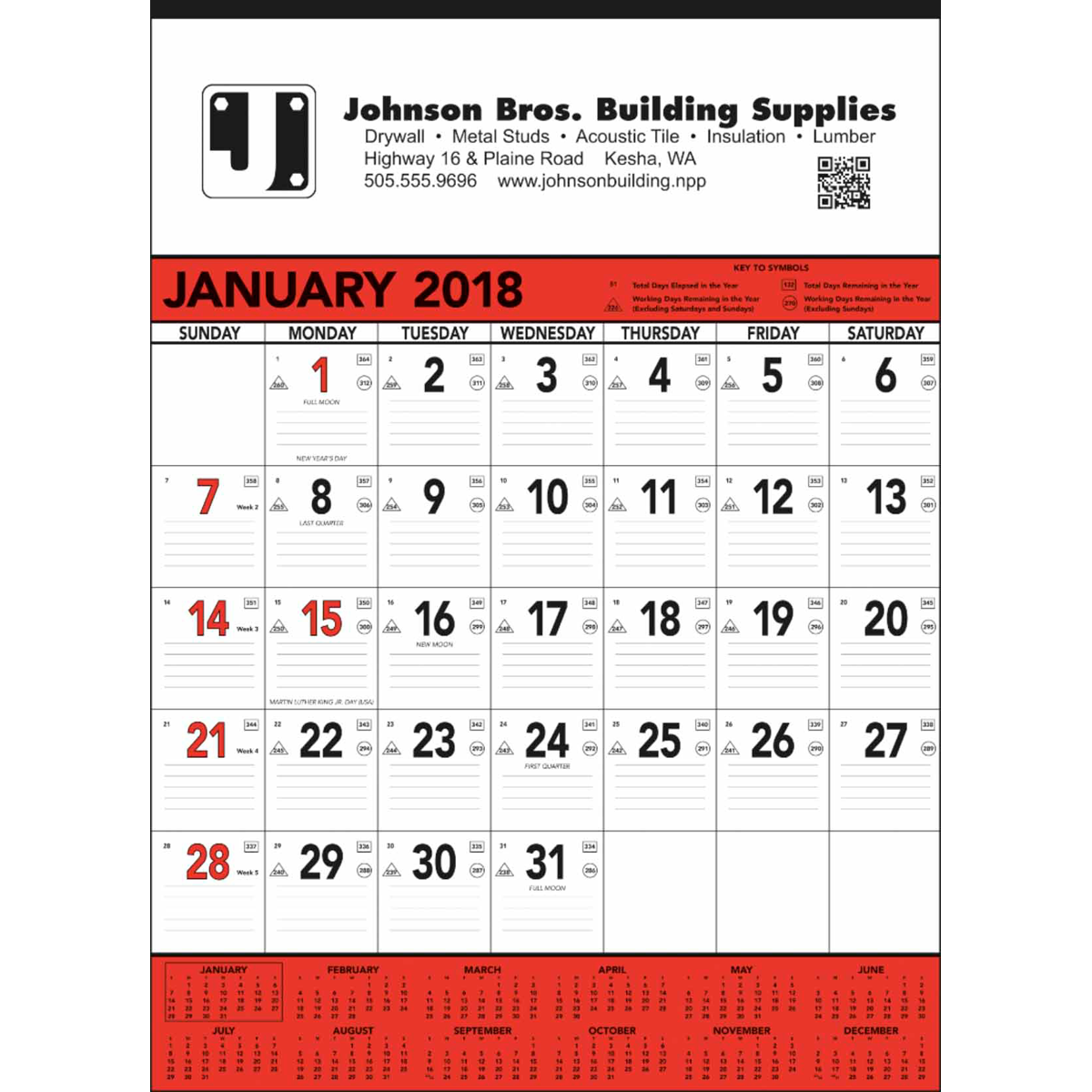 Contractors Memo Wall Calendar – Weekly Memo Calendar